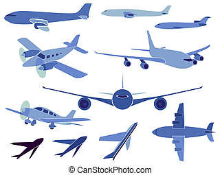 Set of simple symbols of aircrafts.