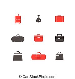 Set of simple vector icons bags