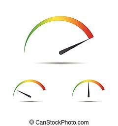 Set of simple vector tachometer with indicator in green, yellow and red part,  speedometer icon, performance measurement symbol isolated on white background