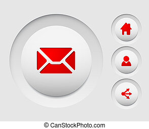 Set of simple vector web circle buttons (home, share, users, email)