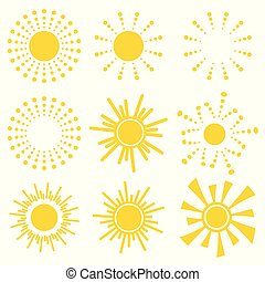 Set of simple yellow orange Sun icons on white background. Cartoon vector illustration of a sunrise. Sunset Graphic logo symbols for kids.