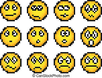 Set Of Simple Yellow Pixel Smiley Set Of Vector Simple