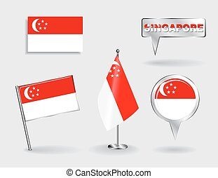 Set of Singapore pin, icon and map pointer flags. Vector