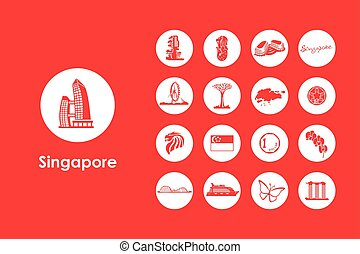 Set of Singapore simple icons - It is a set of Singapore...