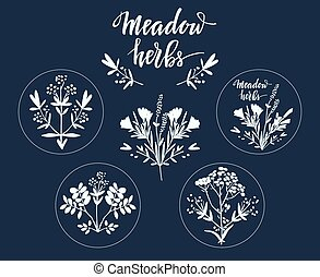 Set of six additional decorative elements for Meadow Herbs collection