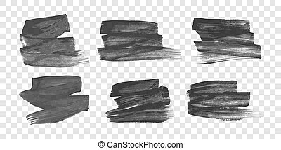 Set of six black hand drawn ink stains
