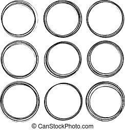 Set of six black round grunge vector templates for rubber stamps