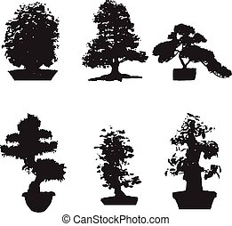 Set of six black silhouettes bonsai on an isolated background. Miniature trees gorshkah. yu Potted trees, Japanese tree