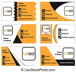 Set of six business cards options. Contains orange, black, white