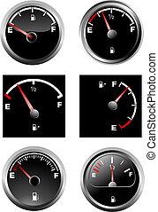 Set of six car dash boards petrol meter, fuel gauge. Vector...