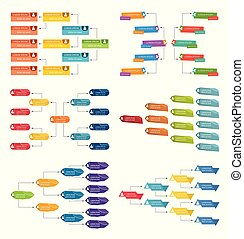 Set of six colorful business structure concept