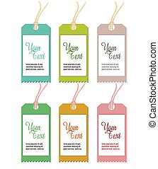 Set of Six Colorful Tags Isolated on White Background