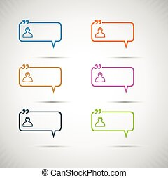 Set of six colorful vector speech bubbles