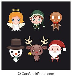 Set of six cute Christmas characters with gradient
