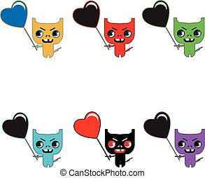 Set of six cute color monsters