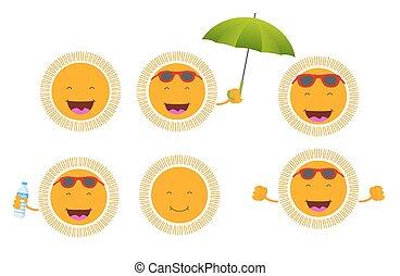 set of six cute smiley suns