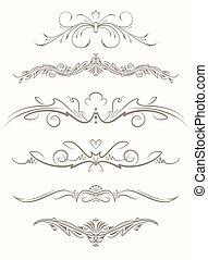 Set of six decorative vintage vector page elements, text dividers.