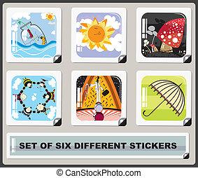 set of six diferent stickers