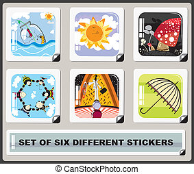 set of six diferent stickers