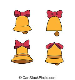 Set of six different bells with bows