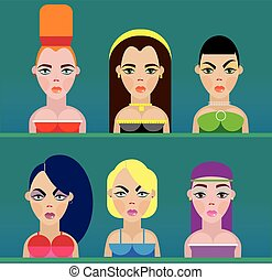 Set of six different girls