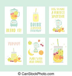 Set of six different smoothie cards.