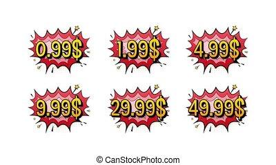 Set of six discount labels. Pop art, comic books style. Motion graphics.