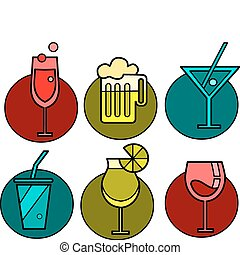 Set of six drink icon variations with colorful backgrounds -2