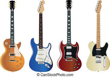 set of six electric guitars