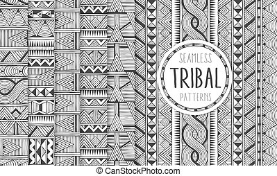 Set of six ethnic seamless patterns. Tribal geometric backgrounds. Modern abstract prints.