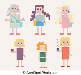 Set of six female pixel people