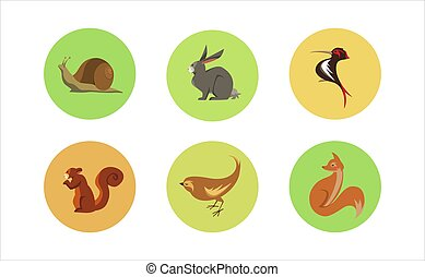 Set of Six Forest Animals Circle Icons