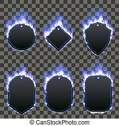 Set of six frames surrounded with blue flame
