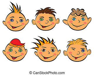 Set of six funny boys faces