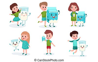 Set Of Six Funny Vector Illustrations With Children Drinking Milk Cartoon Characters
