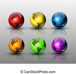 Set of six glossy colored Earth globes