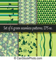 Set of six green seamless patterns.