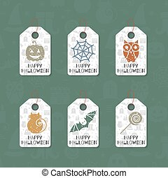 Set of six grunge gift tags for Halloween