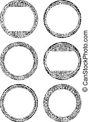 Set of six grunge style templates for rubber stamps