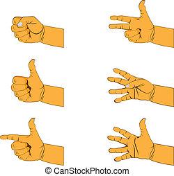 set of six hand gestures