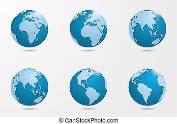 Set of six high detailed vector globes. Vector illustration.