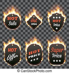 Set of six hot sale frames surrounded with flame