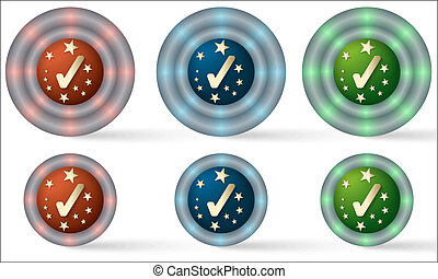 set of six icons with check box