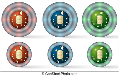 set of six icons with coin symbol