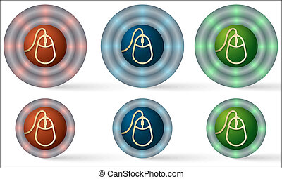 set of six icons with mouse icon