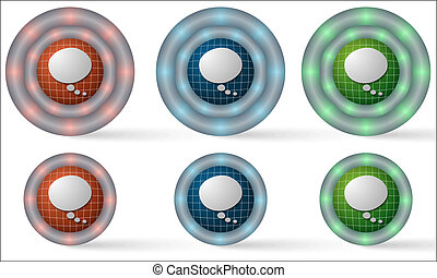 set of six icons with speech bubble
