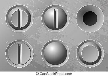 Set of six metal screws