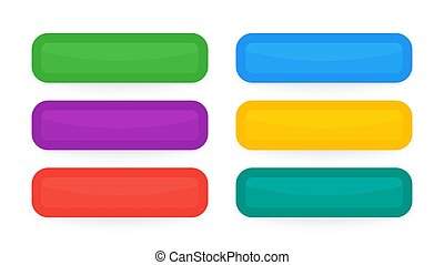 Set of six modern colorful buttons