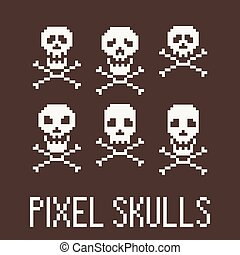 Set of six pixel skulls and crossbones. Vector.