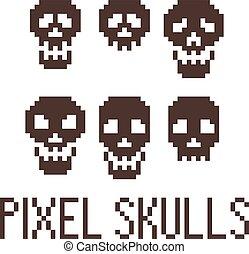 Set of six pixel skulls. Vector.